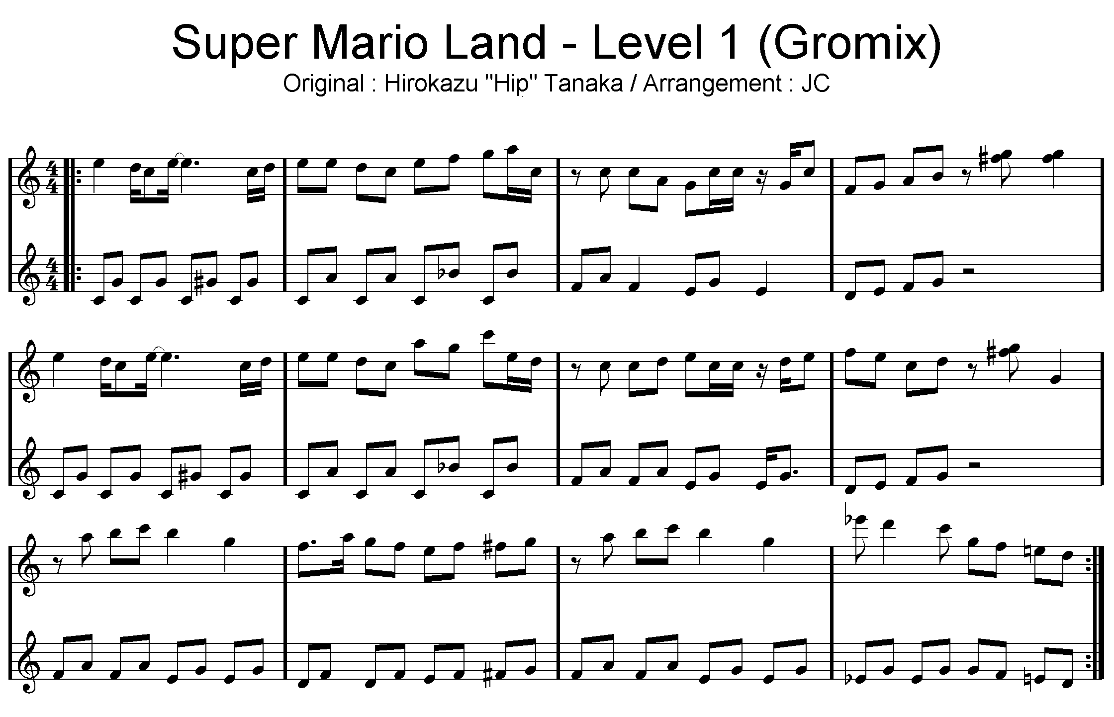 partition piano super mario bros